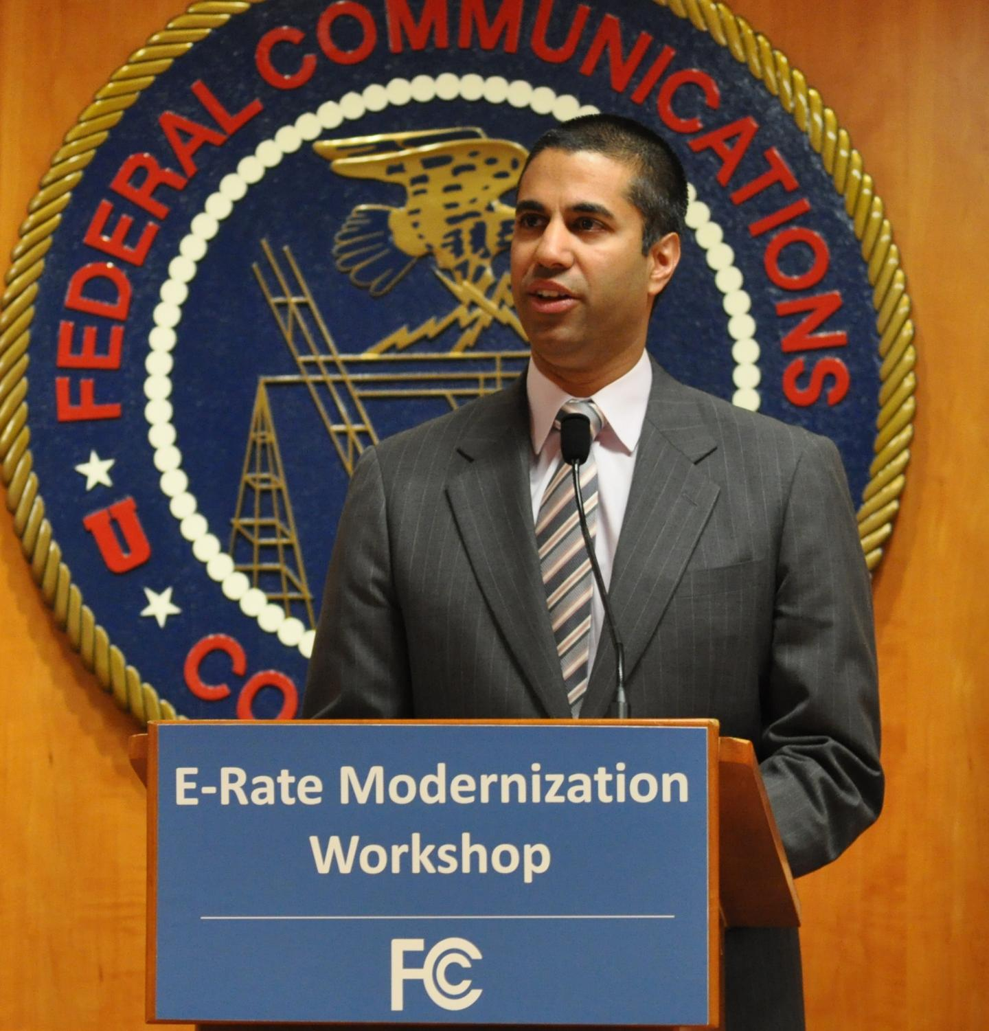 Ajit Pai, then-commissioner for the FCC, speaks at the E-Rate Modernization Workshop on May 5, 2014. Now chairman, Pai plans to repeal net neutrality rules with a vote on December 14.