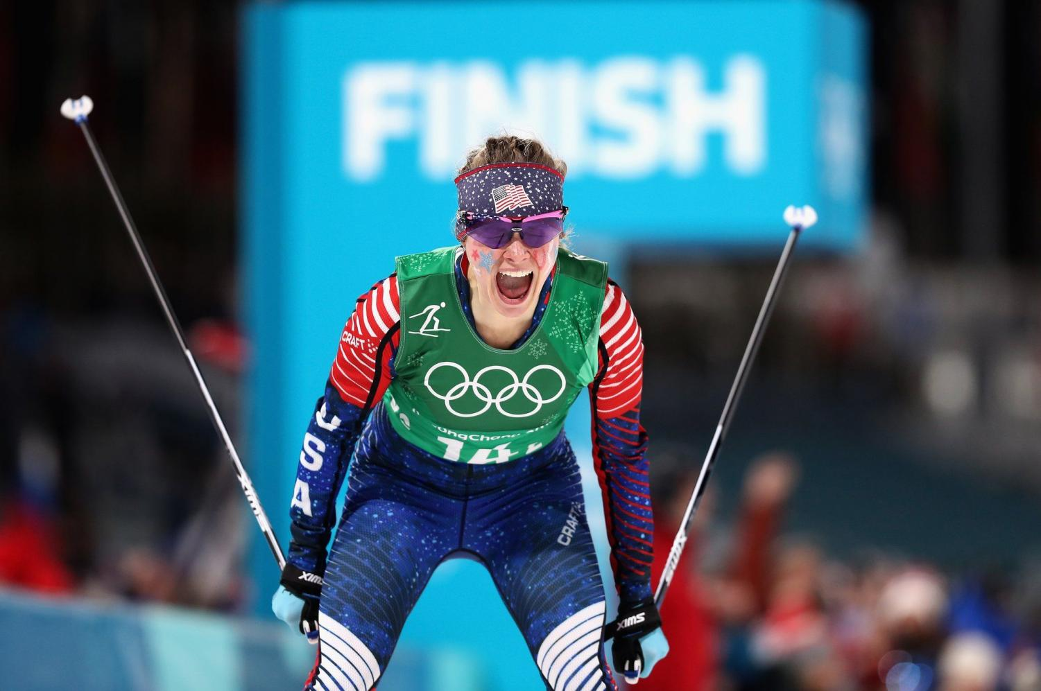 Cross-country skier Jessica Diggins makes history as she becomes the first American woman to win gold in a cross-country ski event.
