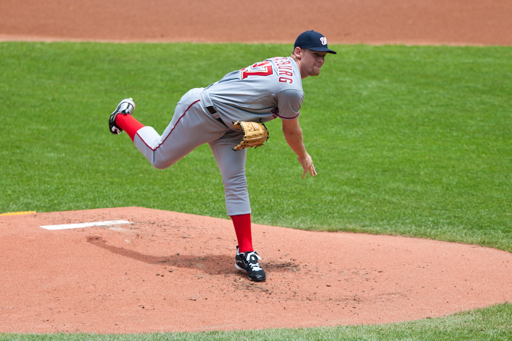 Stephen Strasburg throws his first pitch against the Cleveland Indians in his 2nd MLB start