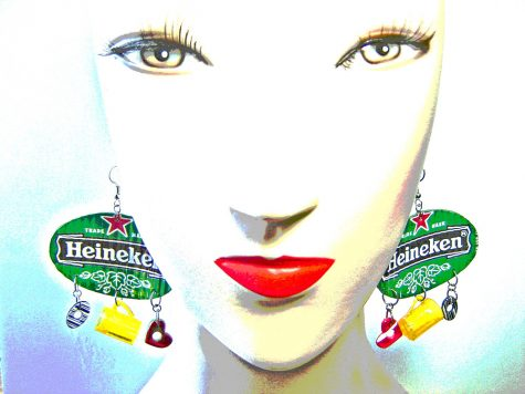 """""""Heineken Earrings recycled from aluminum cans ~ 1 of 5 photos"""" by Urban Woodswalker is licensed under CC BY-NC-ND 2.0"""